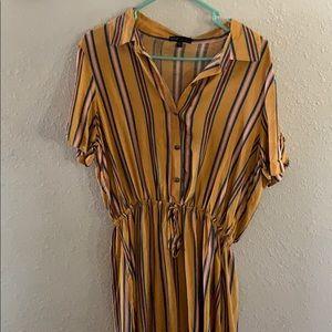BeBop mustard yellow striped dress